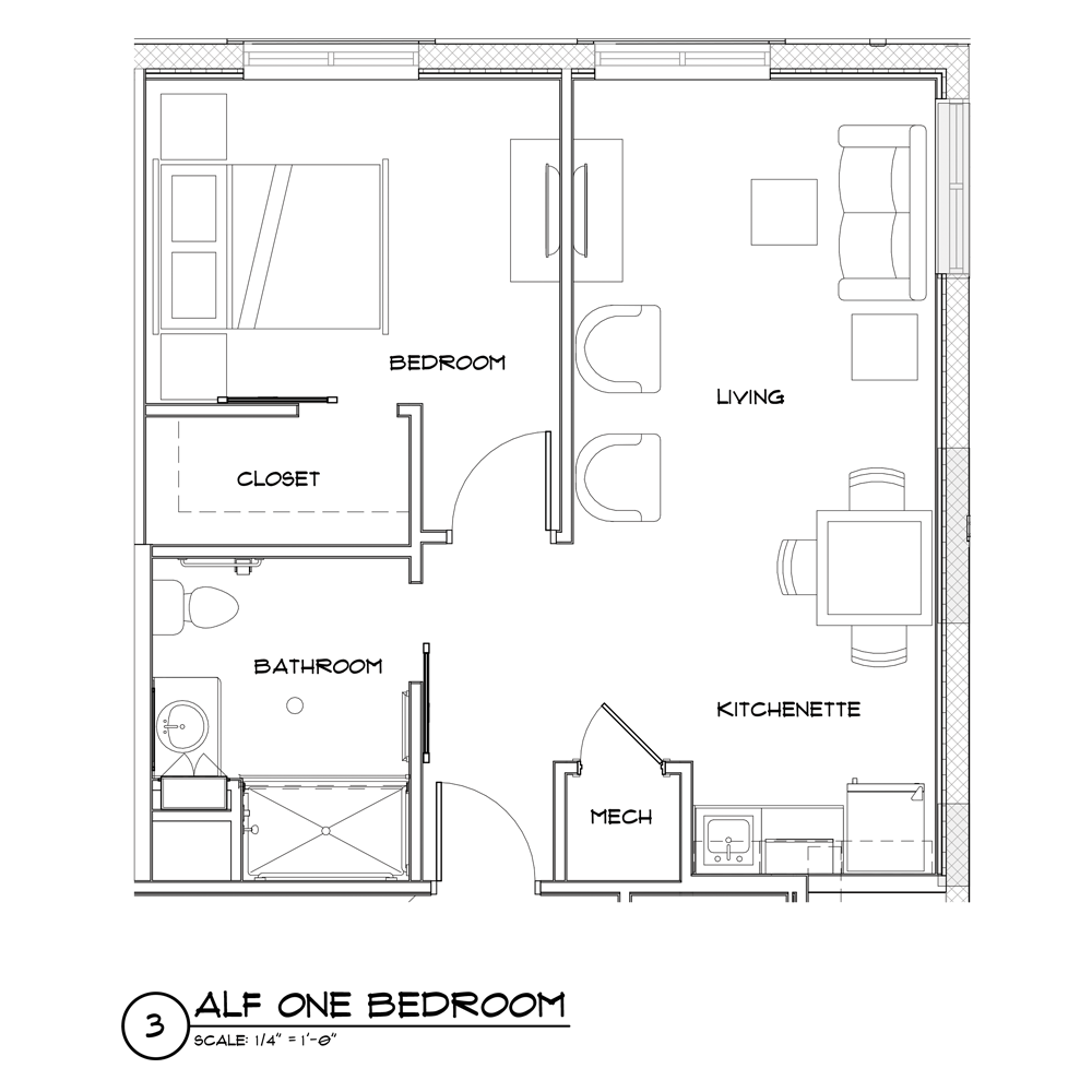 Assisted Living 1 bedroom floor plan